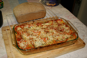 Bread and lasagna
