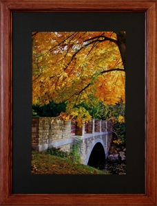Fall Bridge, matted and framed.