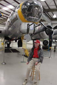 Col. Richard Bushong with a B-17