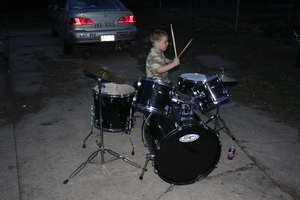 Young drummer, and not too bad.