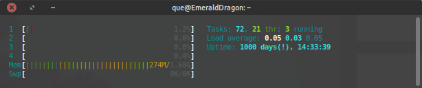 Emerald-Dragon 1000 days of runtime