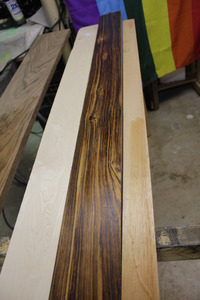 Walnut, Maple, Zebrawood, and Mahogany
